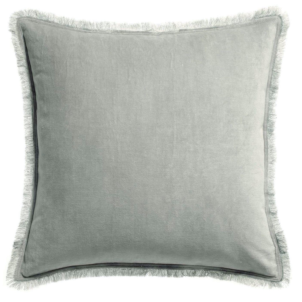 grey velvet fringe cushion