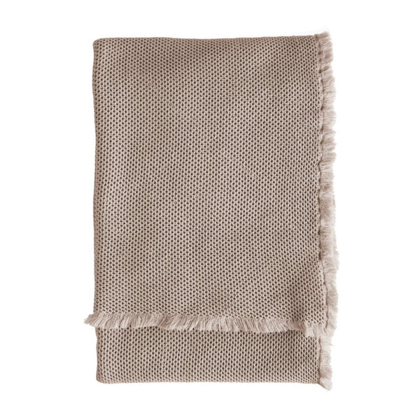 taupe/pink waffle cotton throw by Tine K