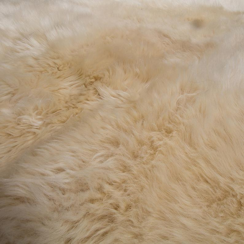 off white double sheepskin rug