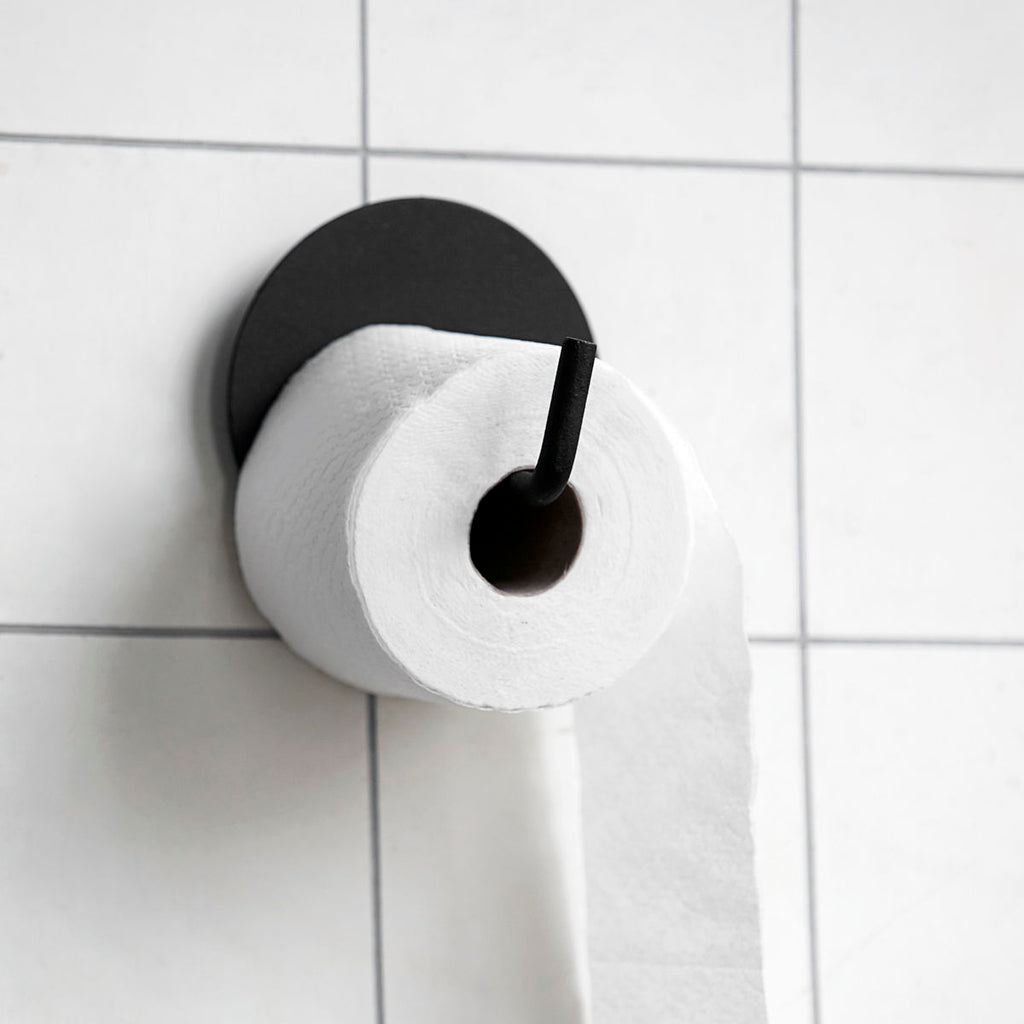 black toilet roll holder