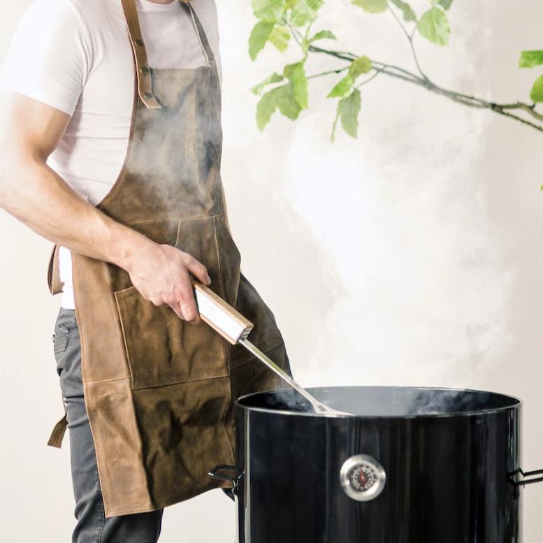 Mens BBQ leather apron