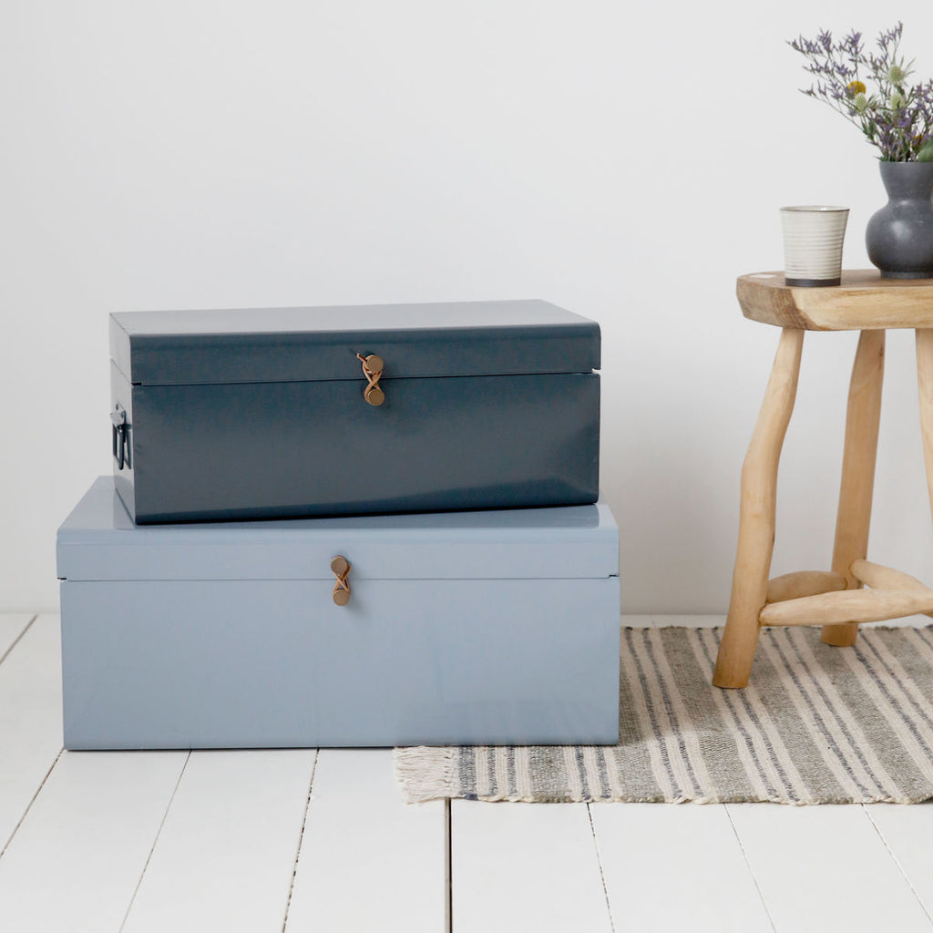Blue Metal Storage Trunk
