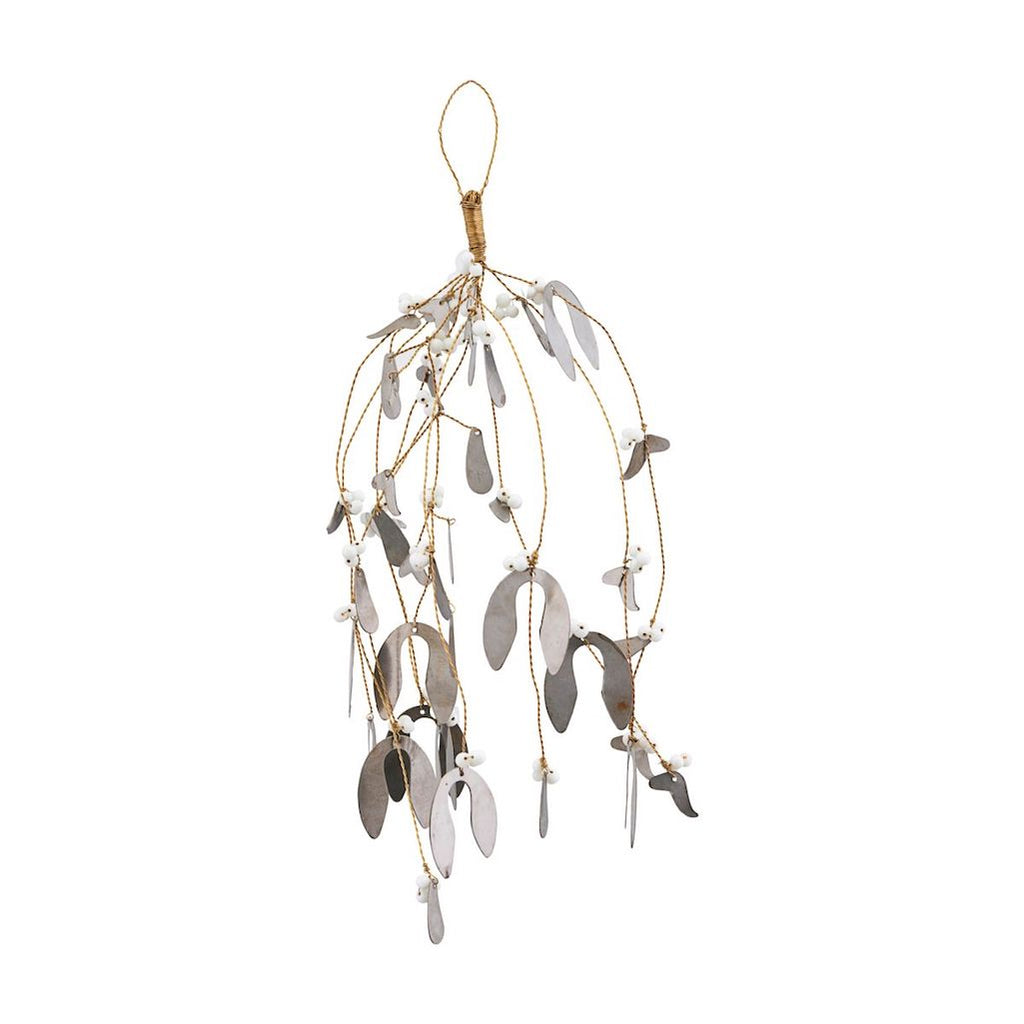 mistletoe hanging decoration with metal leaves and white glass berries