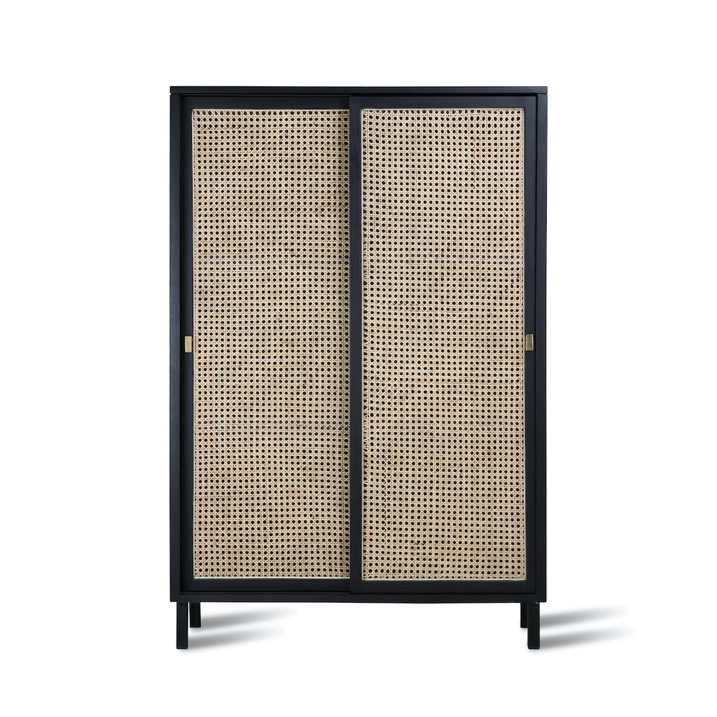 natural webbing doors on a black wooden cabinet