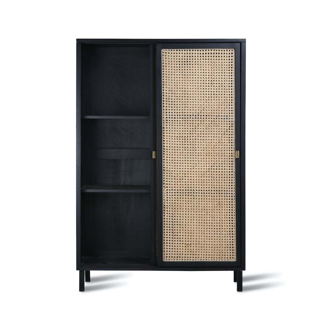 black cabinet with webbing doors