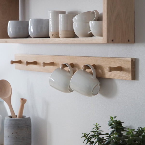 oak peg hook rail by Garden Trading