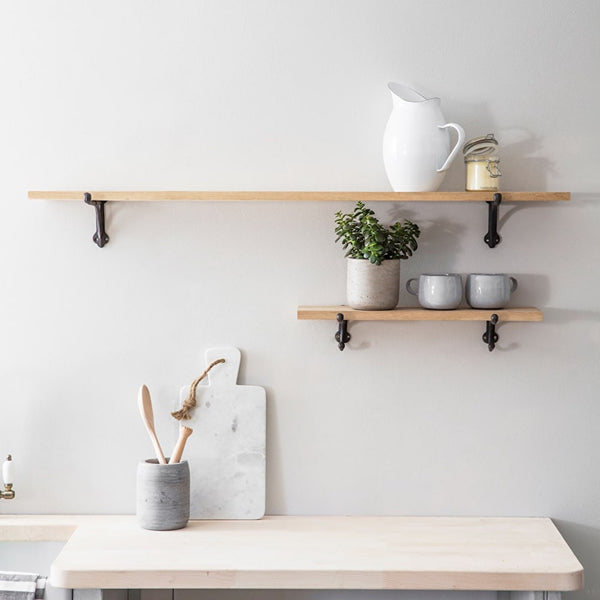 oak shelves in two sizes