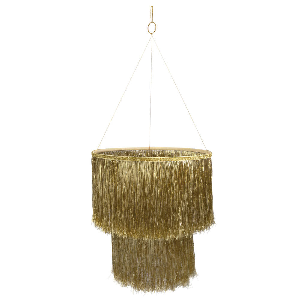 gold tinsel hanging chandelier
