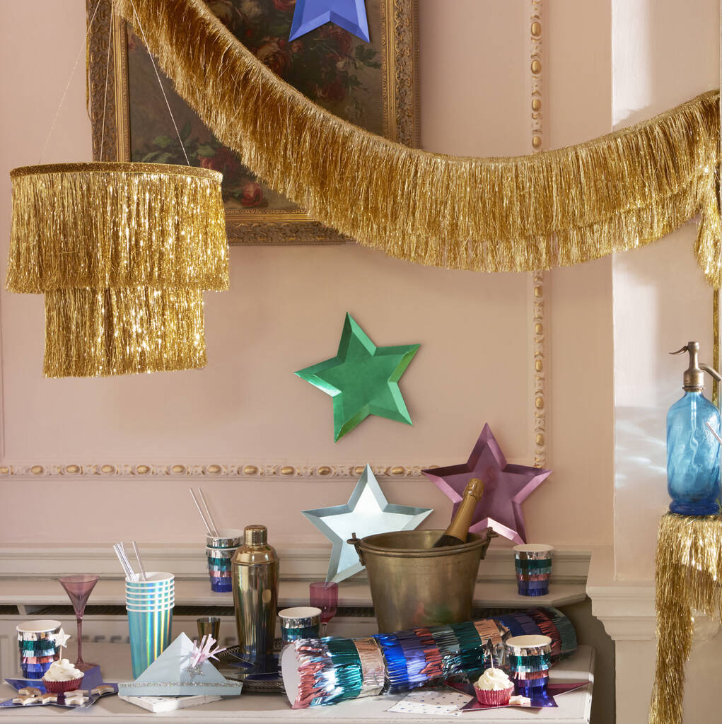 gold tinsel chandelier decoration