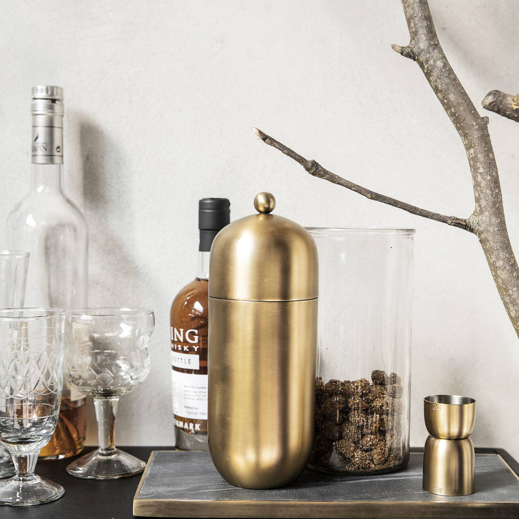 brass cocktail shaker which we can personalise with a name or initials