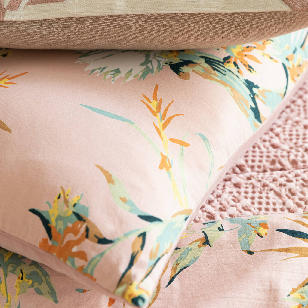 pink botanical cushion by Vivaraise