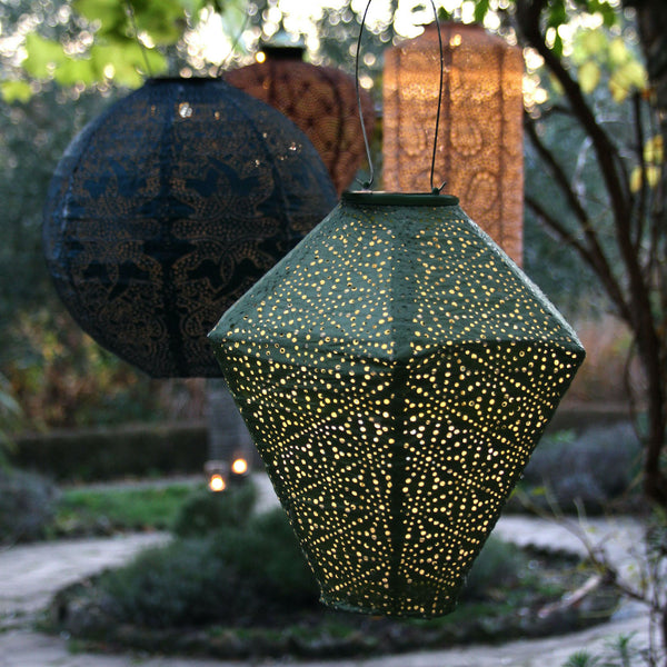 green diamond shaped solar lantern