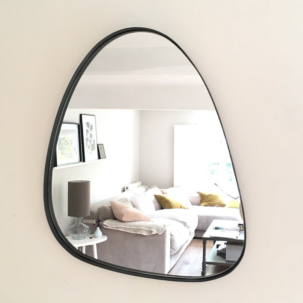Black pebble shaped mirror