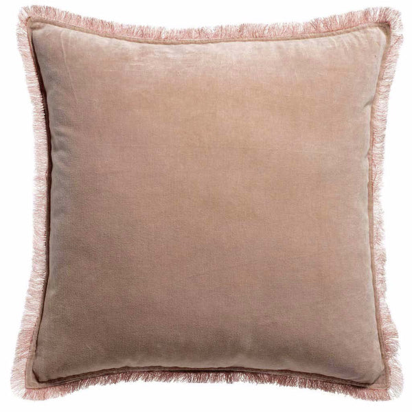 pink velvet cushion with fringe edges