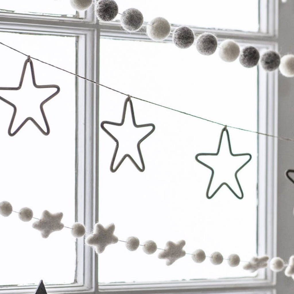 grey and white star pompom garland