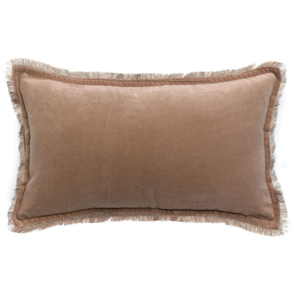 sesame pink velvet cushion with fringe edging