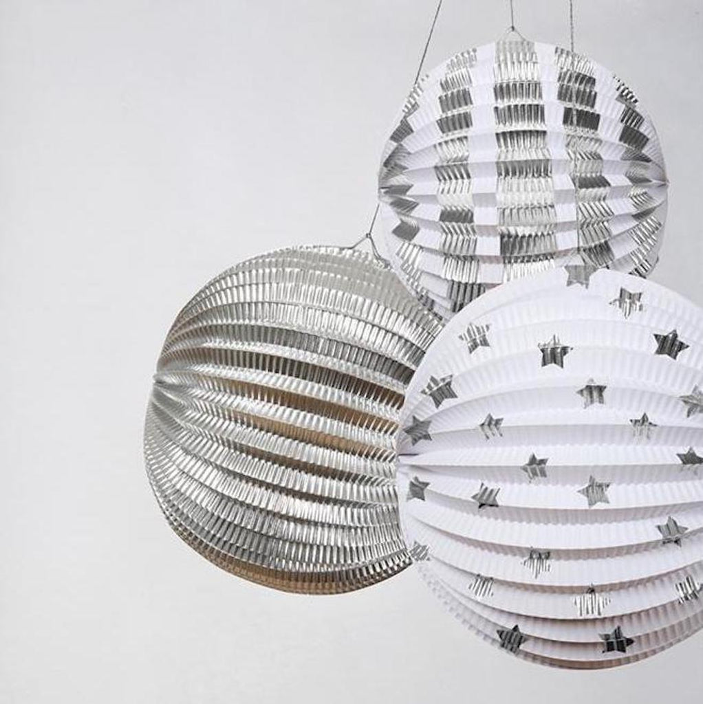 silver Christmas globe decorations