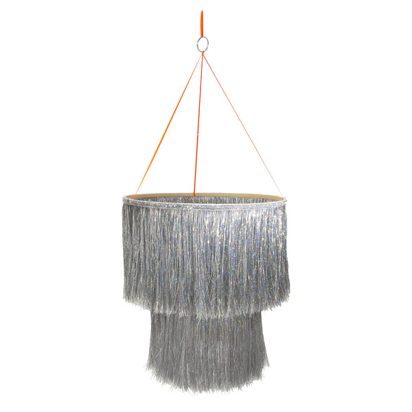 silver tinsel hanging decoration