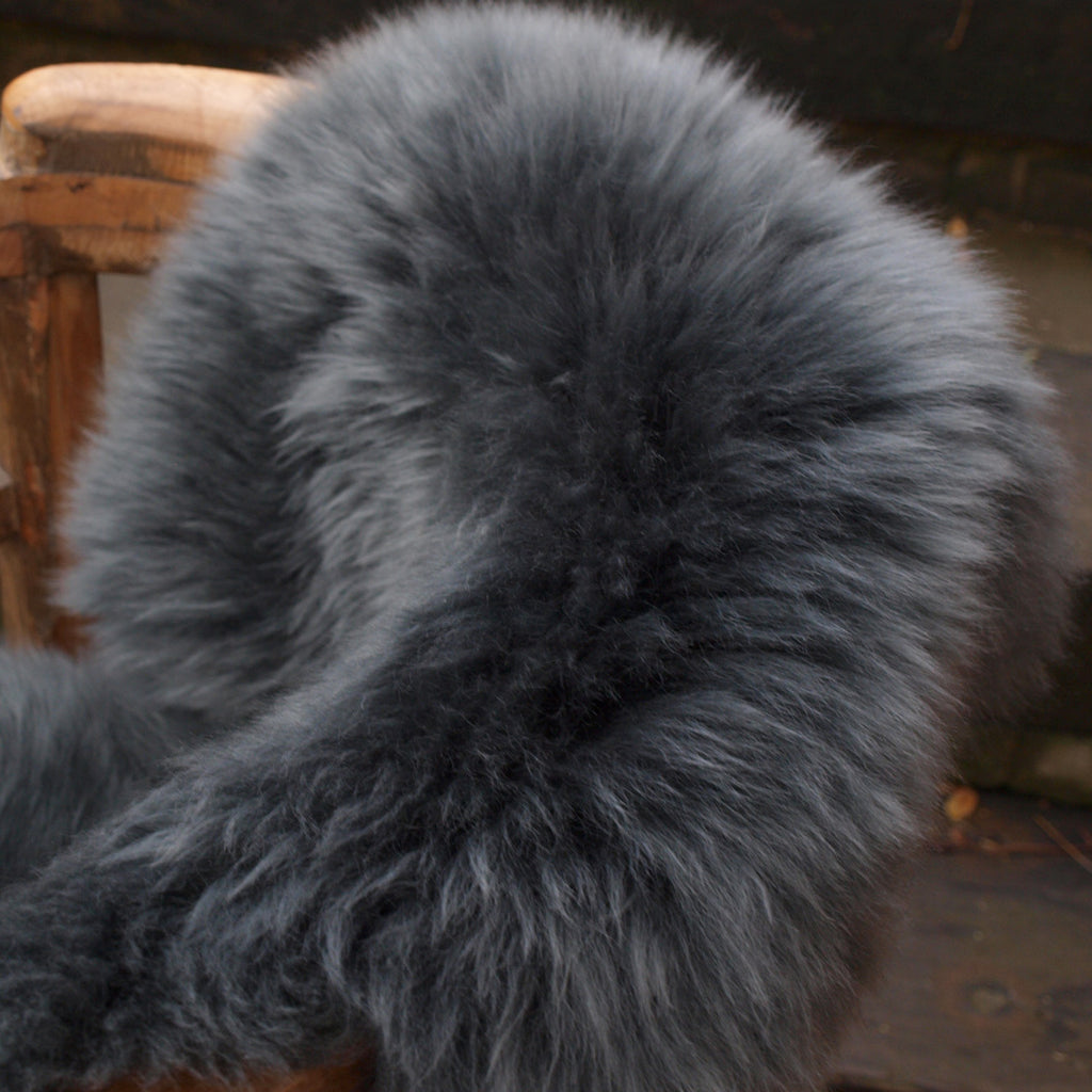 super thick grey sheepskin rug