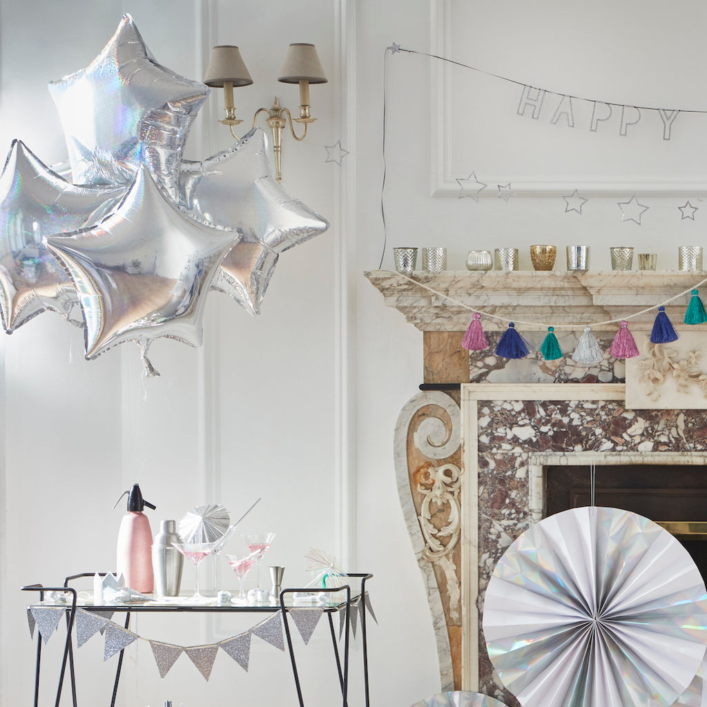 silver star balloon decorations