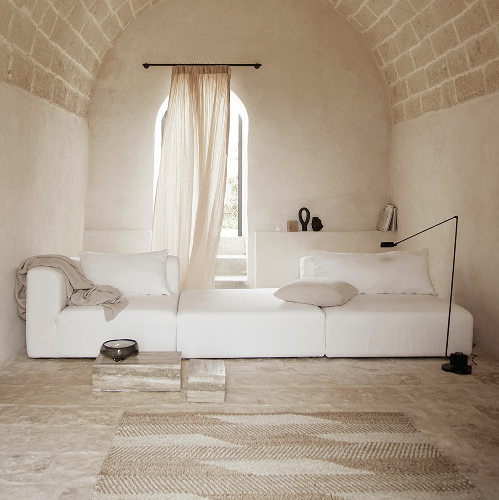 Natural jute rug by Tine K home in beige and white