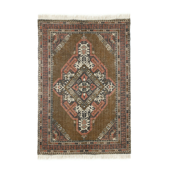 faded pesian style rug in brown