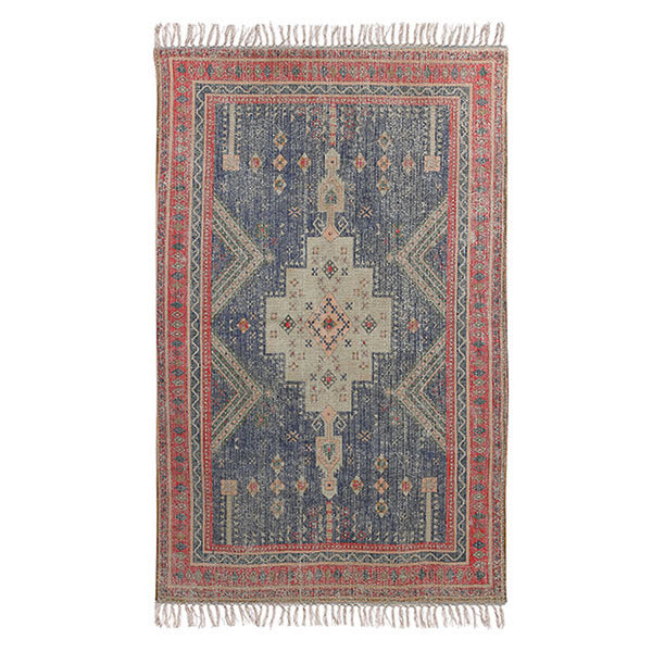 Printed red and blue Persian style rug
