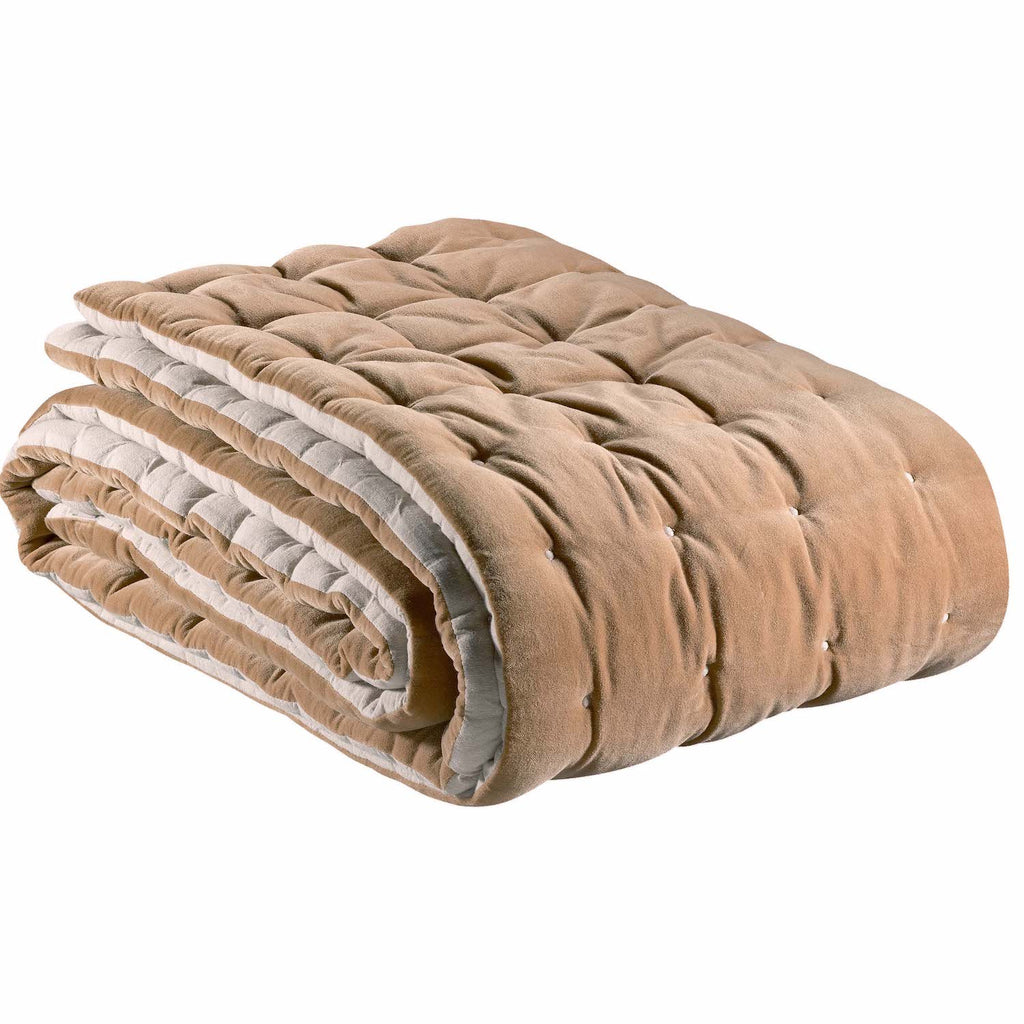 quilted velvet throw in camel