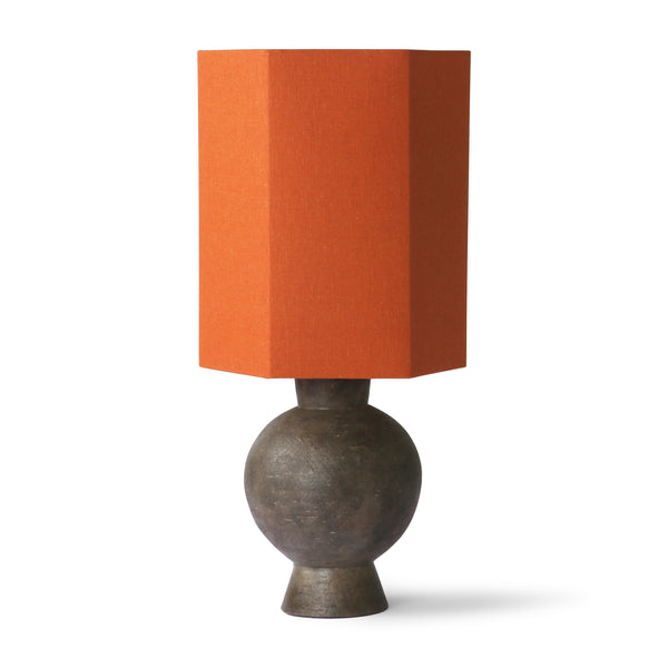 stoneware table lamp with hexagonal orange shade