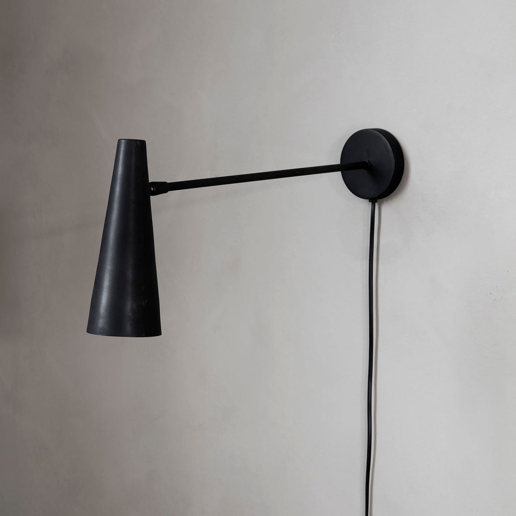 long arm modern black wall lamp