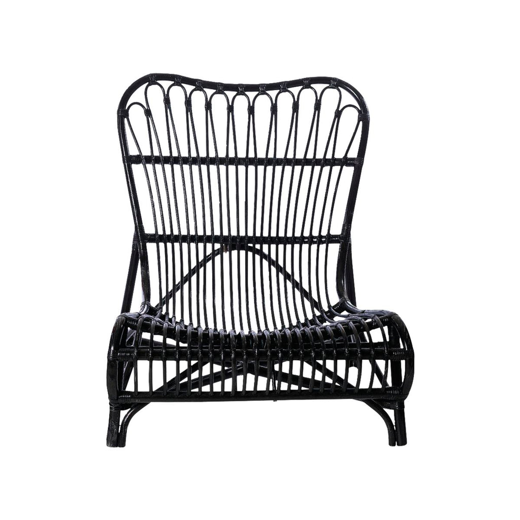 black rattan outdoor chair