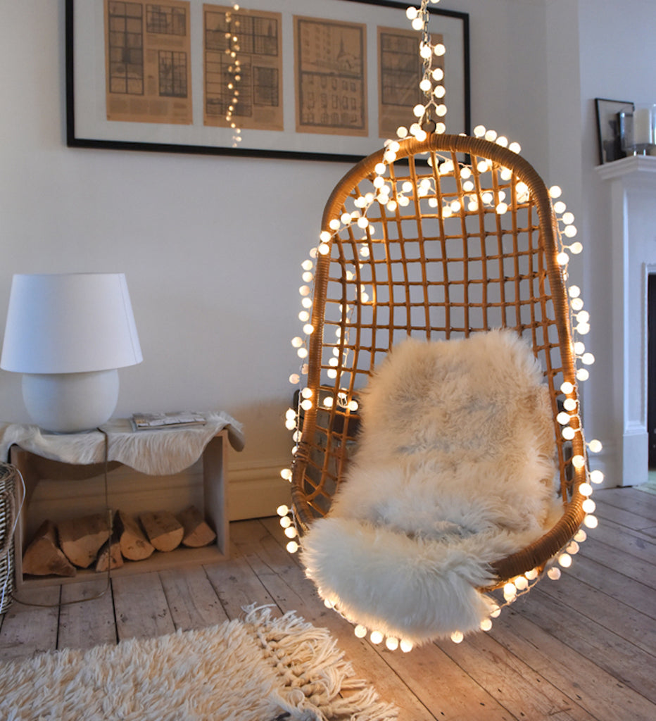 white pom pom fairy lights