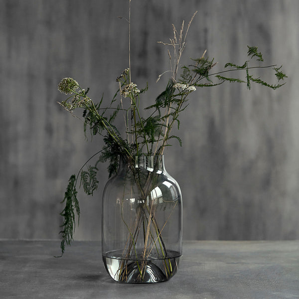 grey glass vase by House Doctor