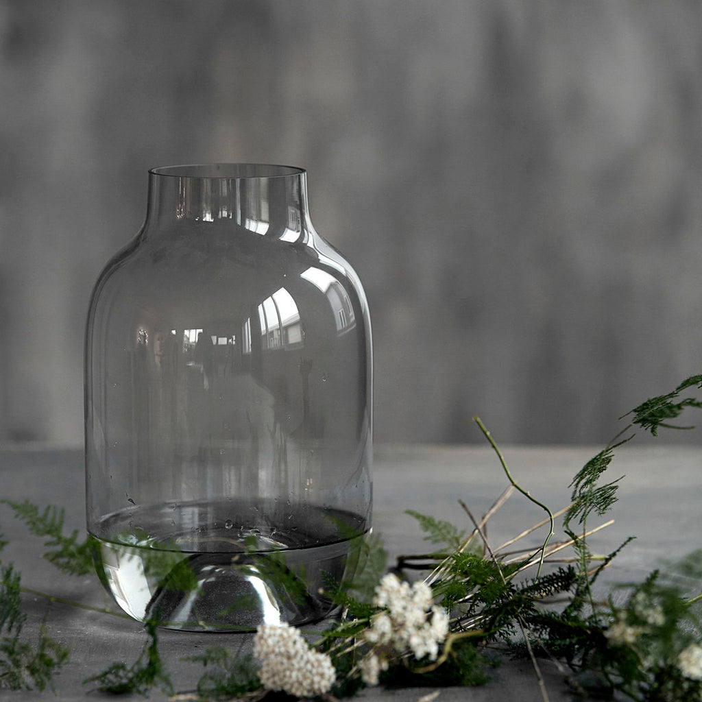 simple grey glass vase by House Doctor