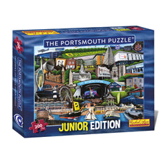 The Portsmouth Puzzle Junior edition 200 Piece Jigsaw Puzzle celebrating Portsmouth and its famous attractions.   Including the famous Victorious Festival, iconic Spinnaker Tower and Historic Warships which makes this a fantastic gift or souvenir of Portsmouth.  Buy now as the perfect gift.  FREE SHIPPING