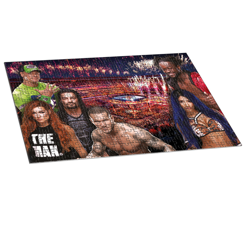 WWE Wrestlmania 500 Piece Jigsaw Puzzle featuring fan favorites Sasha Banks®, Randy Orton® and Charlotte Flair®