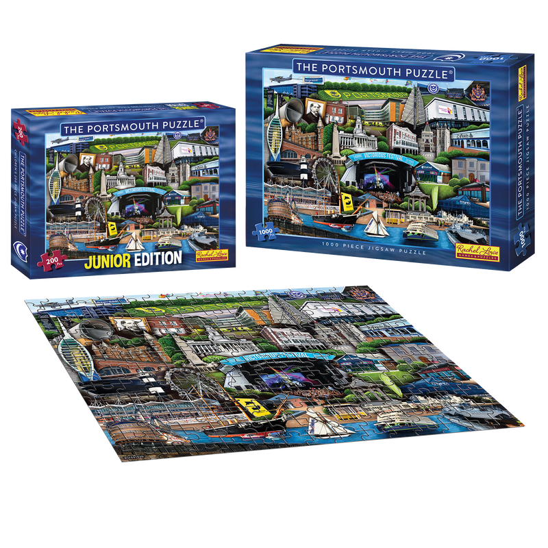 The Portsmouth Puzzle 1000 Piece Jigsaw Puzzle and The Portsmouth Puzzle Junior Edition 200 Piece Puzzle.  Featuring iconic landmarks celebrating the City of Portsmouth. Fantastic gifts for all the family.  Buy now with FREE SHIPPING.