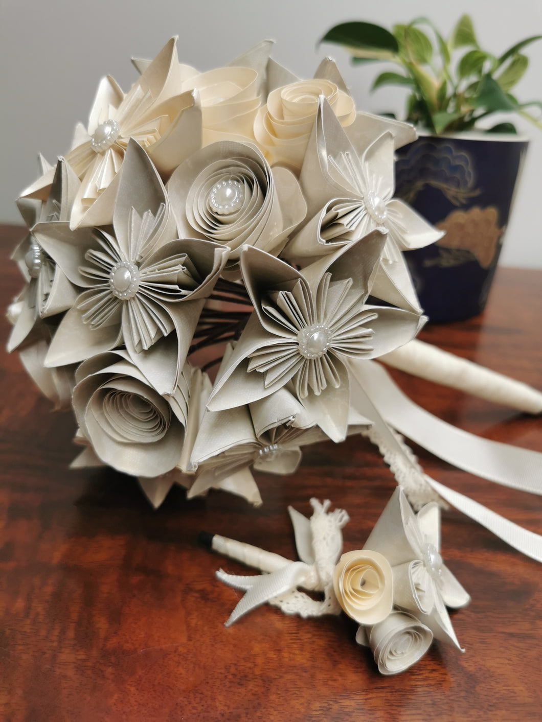 Bridal Bouquet - White & Cream (with free matching buttonhole)