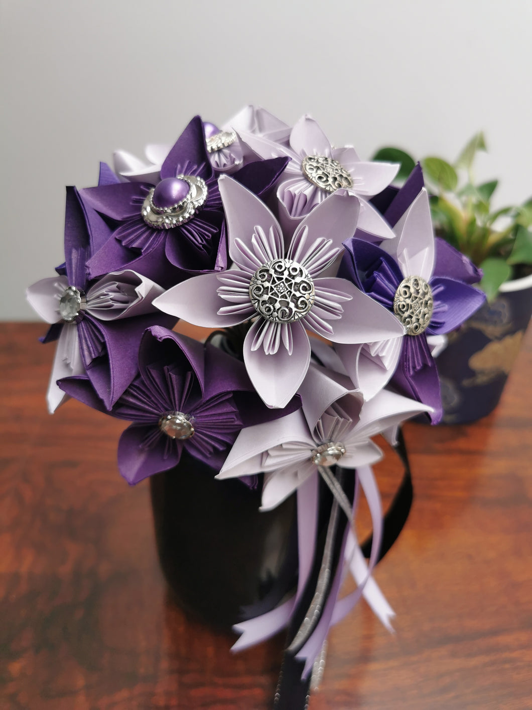 Bridesmaid Bouquet - Purple & Cream