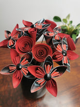 Load image into Gallery viewer, Origami Paper Flowers - Red & Black mix (bunch of 10)