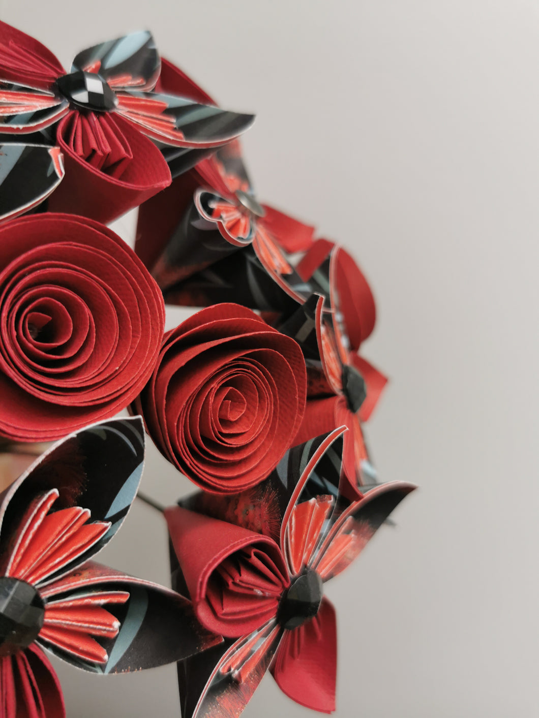 Origami Paper Flowers - Red & Black mix (bunch of 10)