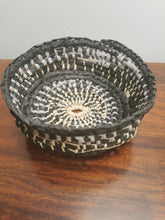 Load image into Gallery viewer, Coil Basket - Black, Gray Paper Raffia with Natural Raffia