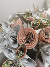 Load image into Gallery viewer, Origami Paper Flowers - Soft pink, white & green mix (bunch of 13)
