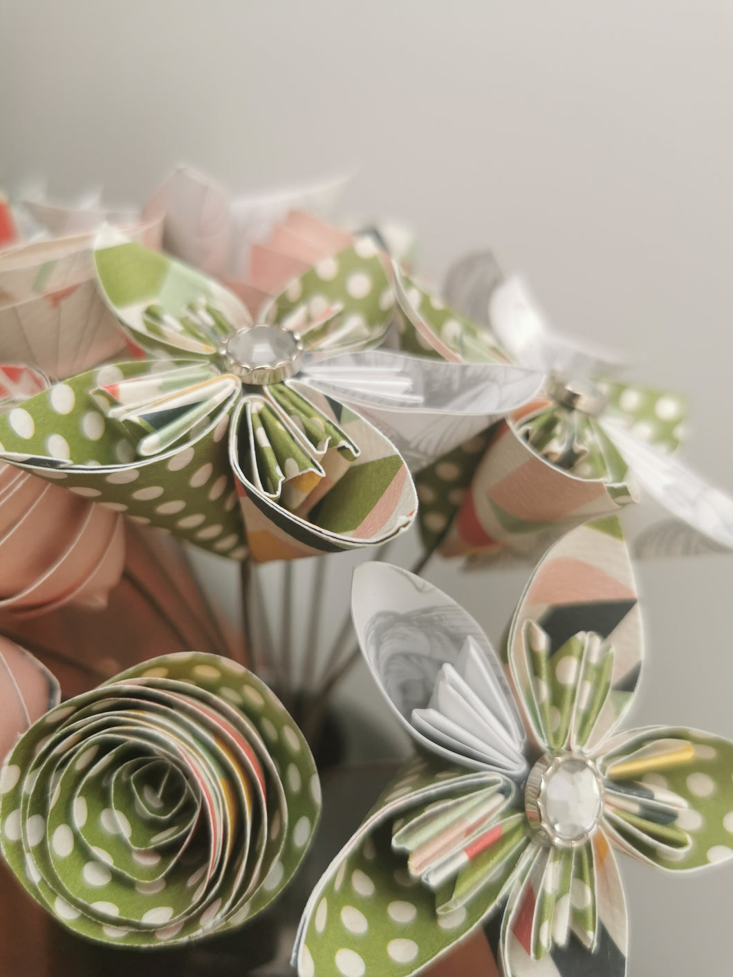 Origami Paper Flowers - Soft pink, white & green mix (bunch of 13)