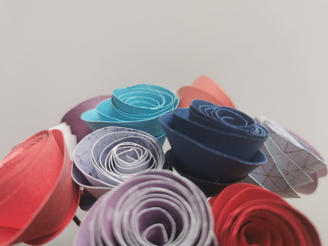 Origami Paper Flowers - Happy multi-colored mix (bunch of 13)