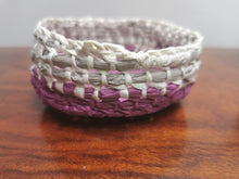 Load image into Gallery viewer, Coil Basket - Grey, White & Pink Paper Raffia