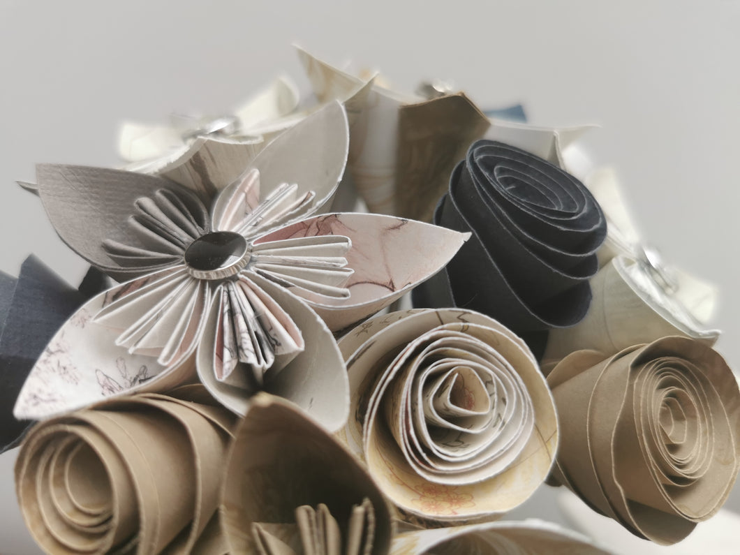 Origami Paper Flowers - Gold, White and Grey mix