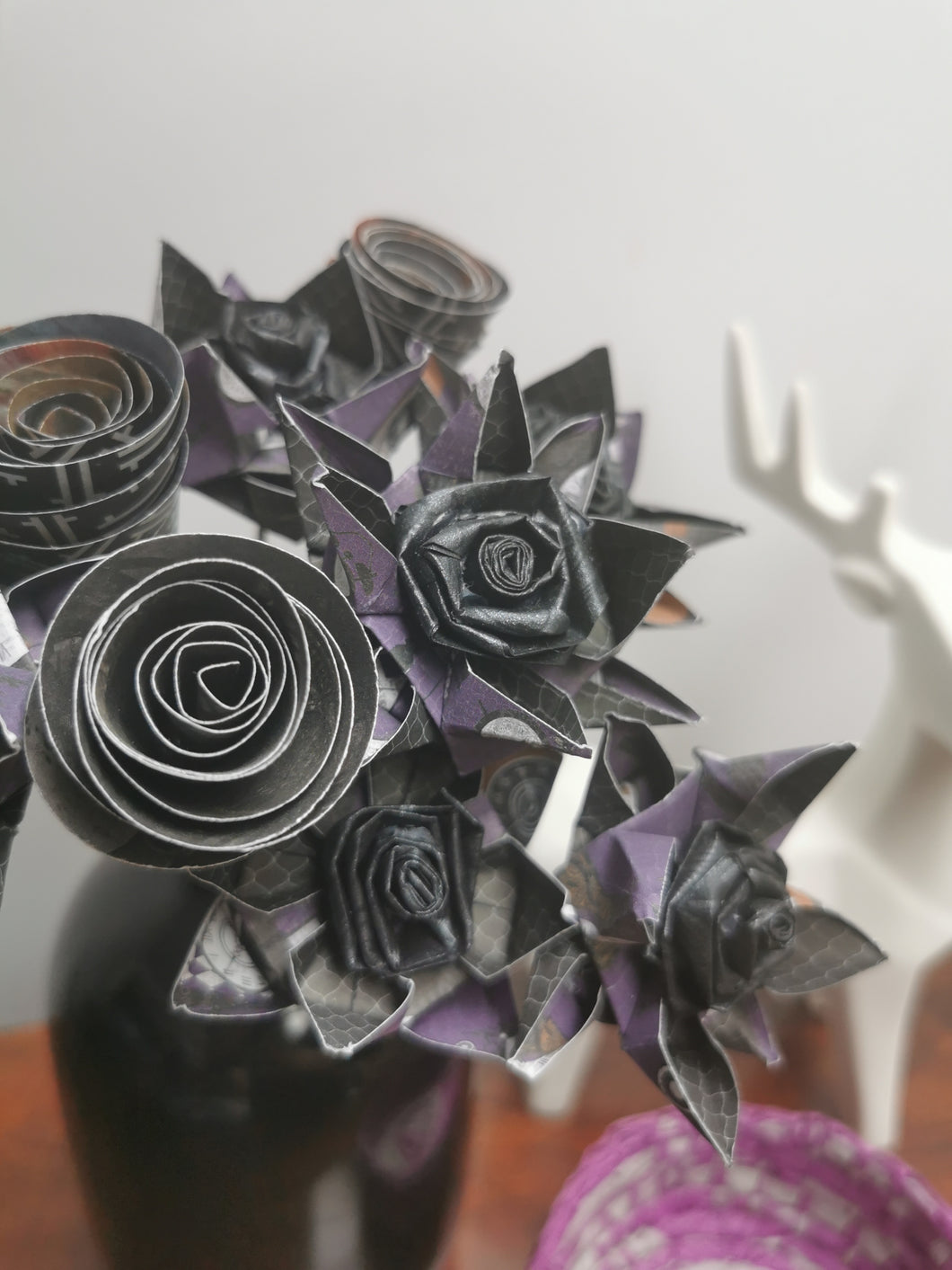 Origami Paper Flowers - Deep Purple mix (bunch of 9)