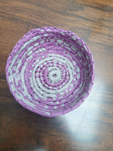 Load image into Gallery viewer, Coil Basket - Grey & Pink Paper Raffia