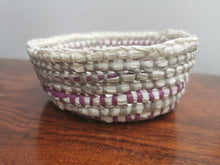 Load image into Gallery viewer, Coil Basket - Grey , White & Pink Paper Raffia